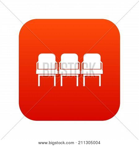 Chairs in the departure hall at airport icon digital red for any design isolated on white vector illustration