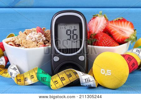 Glucometer For Checking Sugar Level, Healthy Food, Dumbbells And Centimeter, Diabetes, Healthy And S
