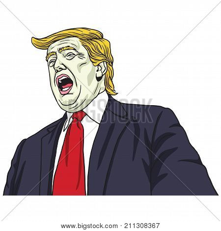 Donald Trump Shouting. Vector Portrait Cartoon Caricature Illustration. October 30, 2017