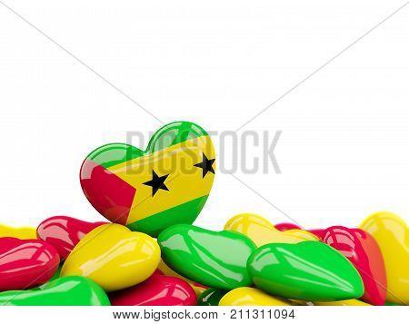 Heart With Flag Of Sao Tome And Principe