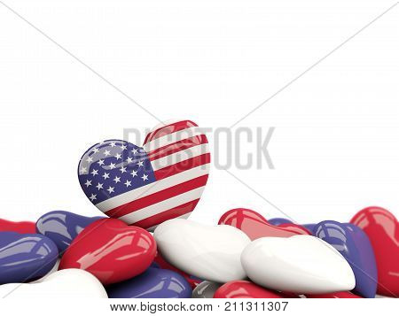 Heart With Flag Of United States Of America