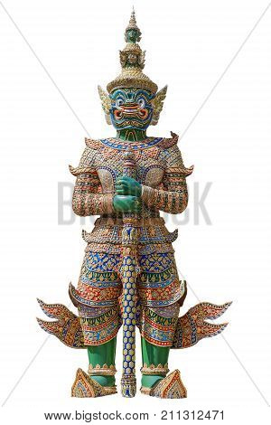 Giant guardian statue isolated on white background with clipping path