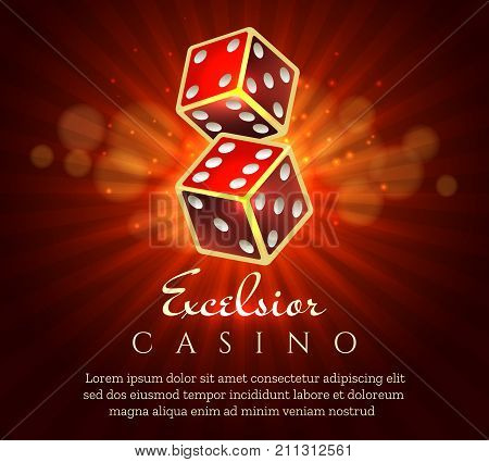 Gambling dice poster. Casino gamble craps red retro placard concept, vector illustration
