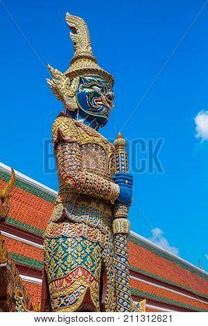 Giant Guardian at Wat Pho known as Yak Wat Pho, Bangkok, Thailand