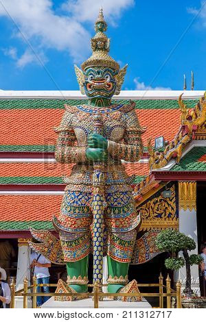 Giant Guardian at Wat Pho known as Yak Wat Pho, Bangkok, Thailand