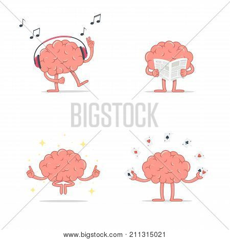 Set of cartoon smart brain relax. Listen music. Meditation. Reading newspaper. Play gambling cards. Vector illustration brain isolated on white background in flat style.