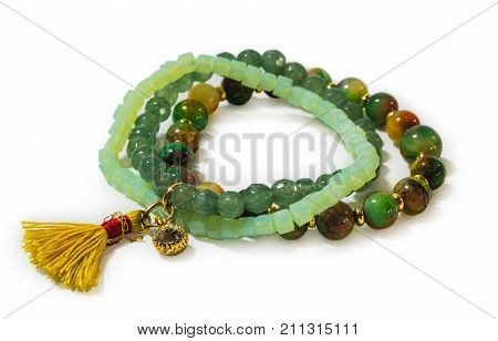 Bracelet with natural stones on a white background