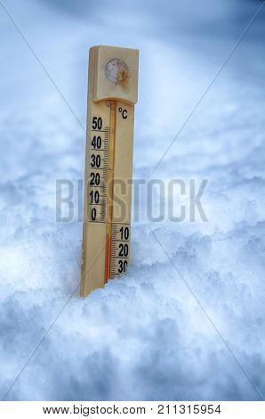 a thermometer on snow shows low temperatures