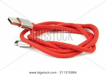 usb cable isolate on white. Close up