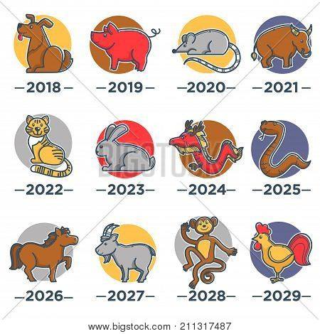 Chinese horoscope calendar dog, red pig, small rat, huge bull, cute tiger, fluffy rabbit, dangerous dragon, smooth brown snake, noble horse, goat with long horns, funky monkey and bright cock vector