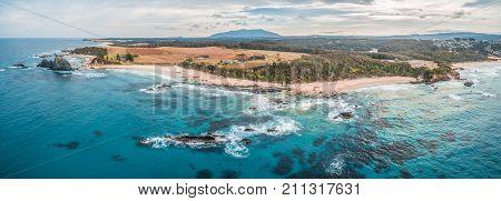 Aerial panorama of beautiful rugged coastline at Narooma New South Wales Australia