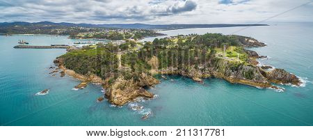 Aerial panorama of the Eden lookout NSW Australia