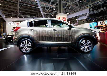 Moscow, Russia - August 25:  Grey Jeep Car Kia Sportage At Moscow International Exhibition Interauto