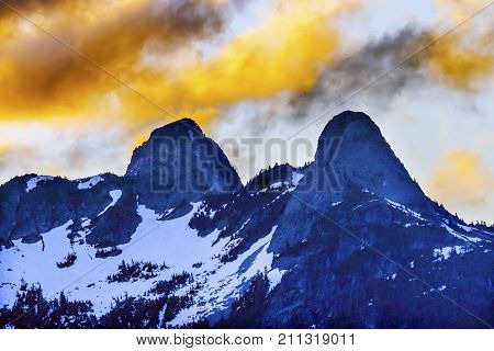 Sunset Clouds Two Lions Snow Mountains Vancouver British Columbia Canada Pacific Northwest