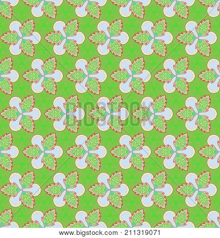 Green flower and ivy on green background is seamless pattern. Green and red Christmas theme.