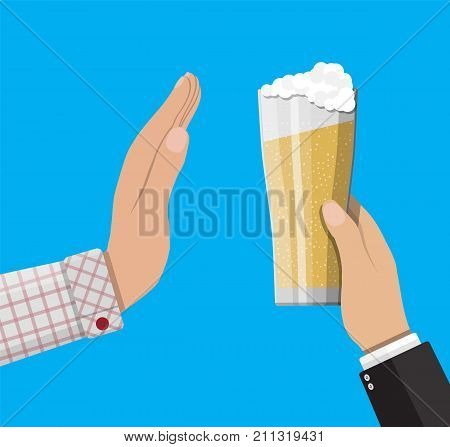 Alcohol abuse concept. Hand gives glass of beer to other hand. Stop alcoholism. Rejection. Vector illustration in flat style