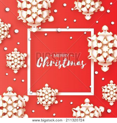 3D Origami Merry Christmas Greetings card. Paper cut snow flake. Happy New Year. Winter snowflakes background. Square frame. Space for text. Red light background. Vector illustration.