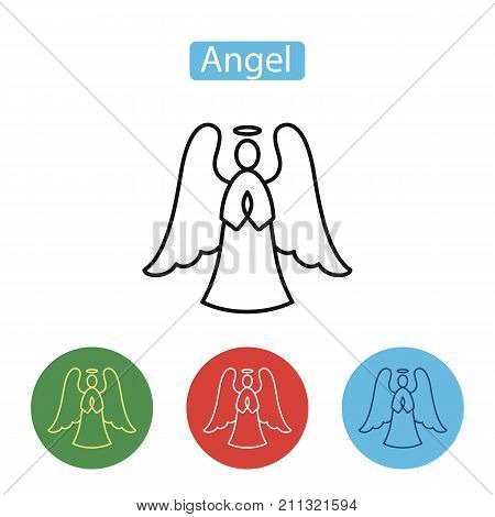 Angel icon. Christmas decoration icon or logo in modern line style. Outline pictogram for web site design and mobile apps. Merry Christmas design. Winter holidays vector illustration. Editable stroke.