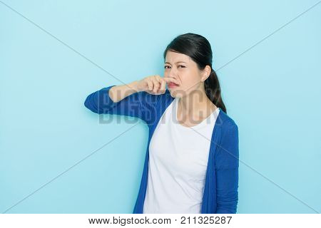 Pretty Attractive Standing In Blue Background