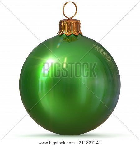 Christmas ball decoration closeup green New Year's Eve bauble hanging adornment traditional Merry Xmas wintertime ornament sparkling. 3d rendering illustration
