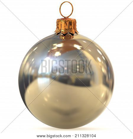 Christmas ball silver chrome decoration closeup New Year's Eve bauble white hanging adornment traditional Merry Xmas wintertime ornament polished. 3d rendering illustration
