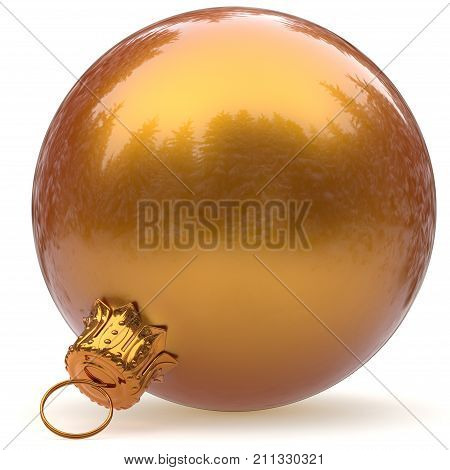 Christmas ball golden bauble decoration closeup Happy New Year's Eve hanging adornment polished traditional Merry Xmas wintertime ornament luxury yellow sparkling. 3d rendering illustration poster