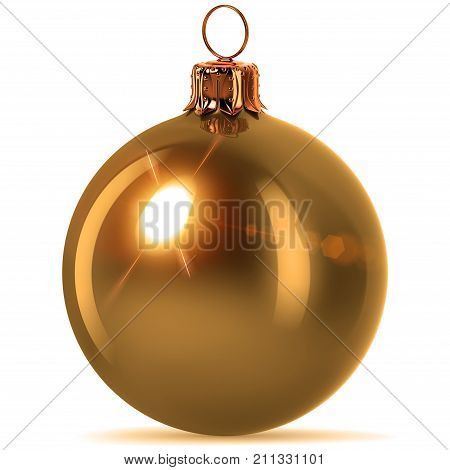 Christmas ball golden decoration New Year's Eve hanging bauble adornment traditional Merry Xmas ornament sparkling yellow. 3d rendering illustration