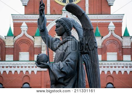 Yoshkar-Ola, Russia - October 27, 2017 Photo of the monument to Archangel Gabriel at the Arkhangelsk settlement in Yoshkar-Ola, Russia
