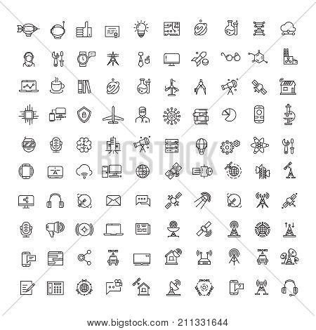 Office, science, technologies, space and communication line icons set. Collection of technology and science communication icons illustration