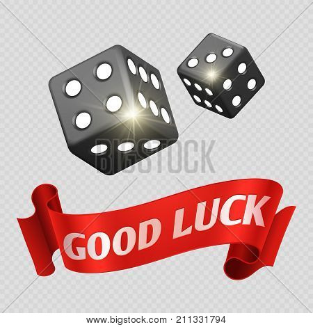 Realistic casino dice and red good luck banner. Dice and good luck in gambling game. Vector illustration