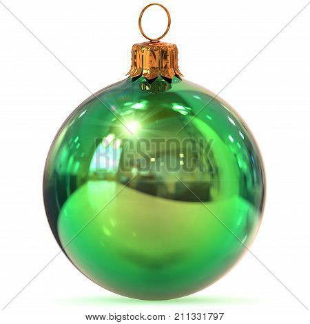 Christmas ball closeup green decoration New Year's Eve bauble hanging adornment Merry Xmas wintertime ornament polished. 3d rendering illustration