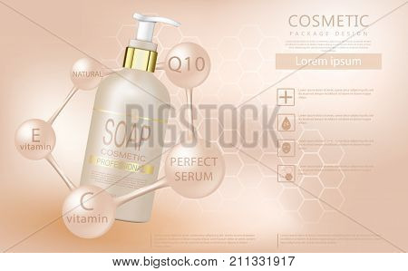 Vector 3D cosmetic illustration for the promotion of foundation premium product. Realistic bottle of liquid soap with a pump on a soft beige background. Design cosmetics product advertising.