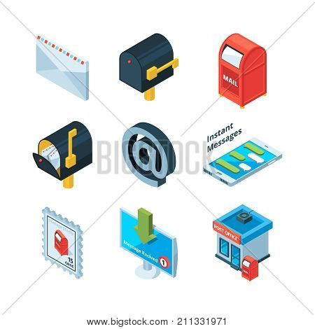 Diffrent postal symbols. Isometric pictures of mailbox, latters and email sign. Mailbox and postbox for mailing, envelope and e-mail. Vector illustration