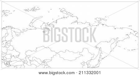 Political map of Russia and surrounding countries. Black thin outline on white background. Vector illustration.