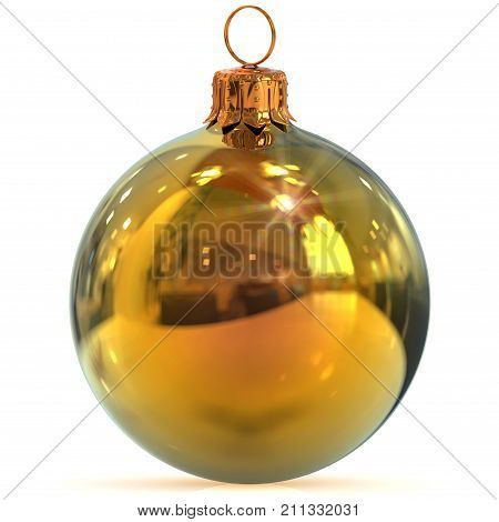 Christmas ball golden decoration New Year's Eve hanging bauble adornment traditional Happy Merry Xmas ornament shiny polished. 3d rendering illustration
