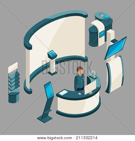 Reception or demonstration stand on exposition. Promotional corporate mockup board for advertising, vector illustration