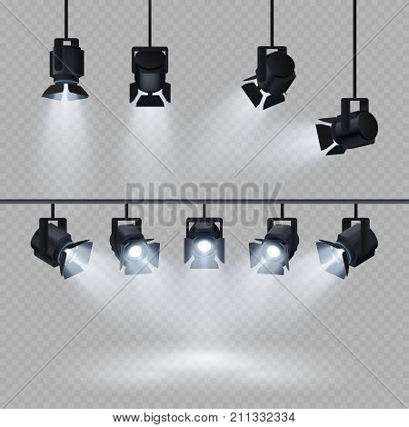 Spotlights with white light collection isolated on transparent background. Spotlight for show, bright beam from projector, vector illustration