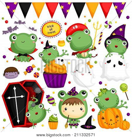 Halloween Frog Vector Set with many item and frogs