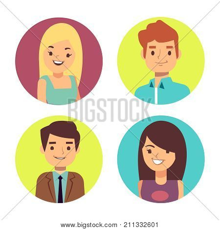 Male and female happy faces avatars for chats or forum. Cartoon avatar boy and girl character. Vector illustration