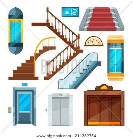 Elevators and stairs in different styles. Lift mechanisms in cartoon style. Elevator and lift, staircase and escalator, vector illustration