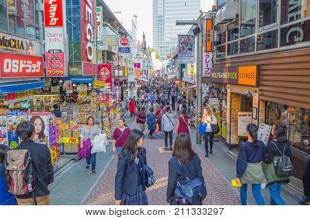October 2017 ,street In Harajuku  Tokyo, Japan : Takeshita  Street Is The Famous Fashion Shopping St
