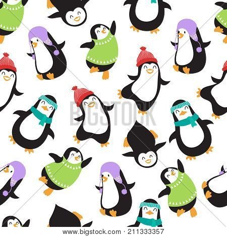 Cute christmas baby penguins vector seamless pattern. Illustration of penguin animal background illustration