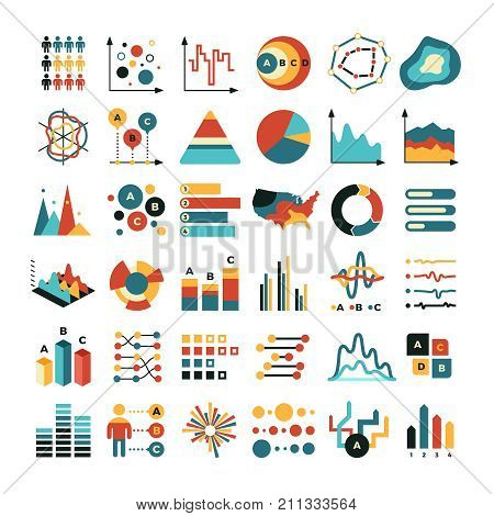Business data graph and charts. Marketing statistics vector flat icons. Graph and chart data, diagram finance for report illustration