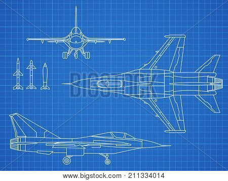Military jet aircraft drawing vector blueprint design. Aircraft military plan blueprint illustration