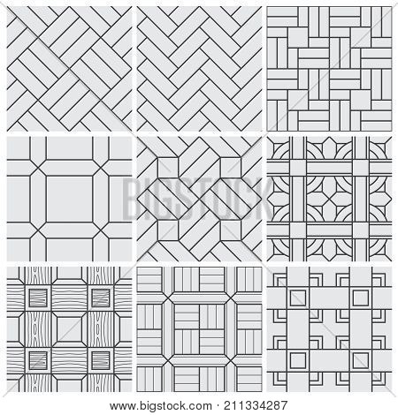 Floor material tiles vector seamless patterns. Material pattern seamless background, decoration geometric vintage tile illustration