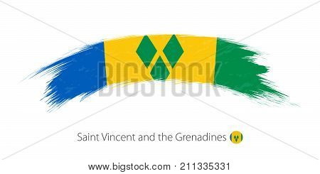 Flag Of Saint Vincent And The Grenadines In Rounded Grunge Brush Stroke.