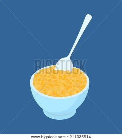 Bowl Of Bulgur Porridge And Spoon Isolated. Healthy Food For Breakfast. Vector Illustration