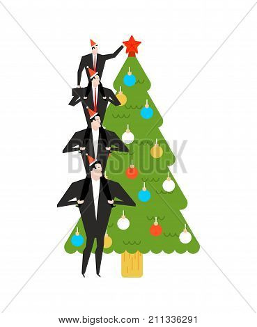 New Year Corporate Party. Businessman Decorates Christmas Tree. Christmas At Office. Manager In Hat