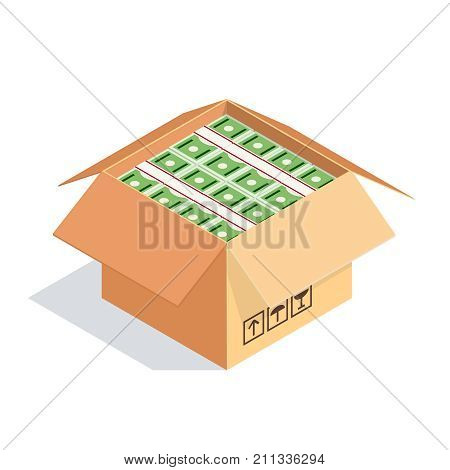 Isometric cardboard box with money isolated on white background. An open cardboard box with bundles of dollars. Vector illustration.