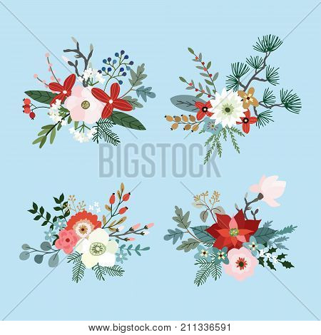 Set of Christmas bouquets made of fir, pine and eucalyptus tree branches, poinsettia, mums, magnolia flowers, holly, leaves and berries, floral winter decoration. Isolated vector objects.